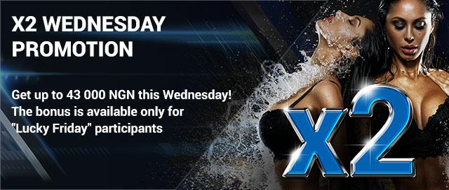 1xbet x2 Wednesday promotion