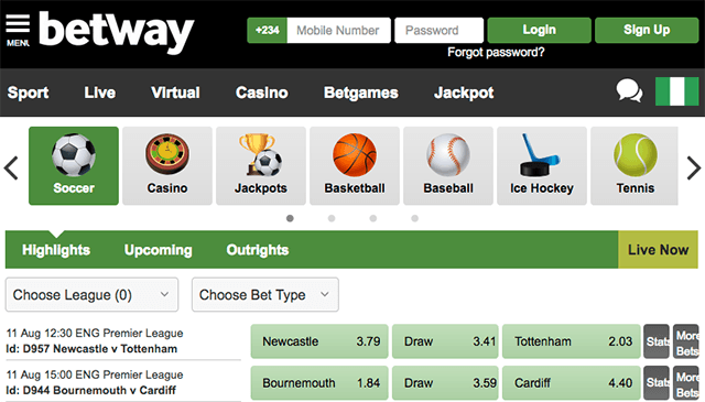 betway sport betting